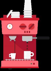Kavos aparatų remontas, rožinis kavos aparatas su baltais puodeliais ir tekančia į juos kava