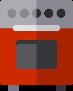 Orkaičių remontas, tamsiai raudona orkaitė su pilka mygtukų juosta ir tamsiais mygtukais