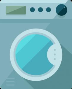 Skalbimo mašinų remontas, melsva skalbimo mašina su žydromis durelėmis ir tamsiais mygtukais