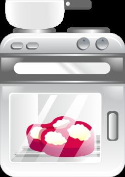 Kaitlenčių remontas, šviesi orkaitė-kaitlentė, viduje raudonose širdelės formose kepa pyragai, ant kaitlentės stovi puodas