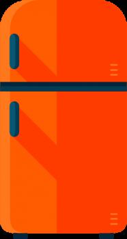 Šaldytuvų remontas, oranžinis šaldytuvas su mėlynomis rankenėlėmis